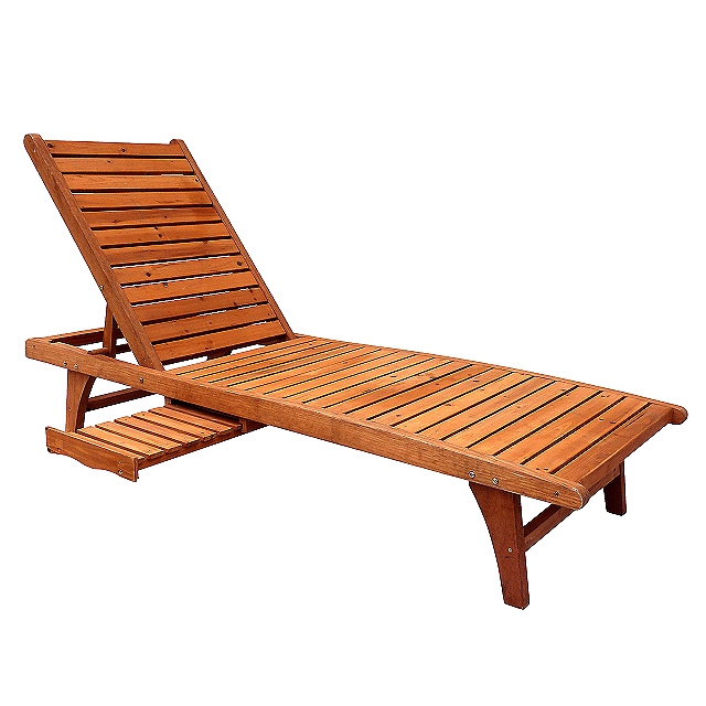 Cedar Wood Patio Deck Chaise Lounger