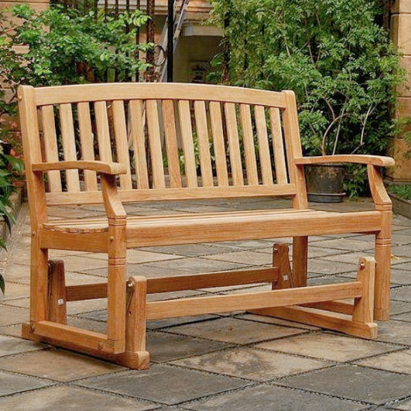 Teak 4 Foot Arched Patio Glider Bench, Garden Glider Bench