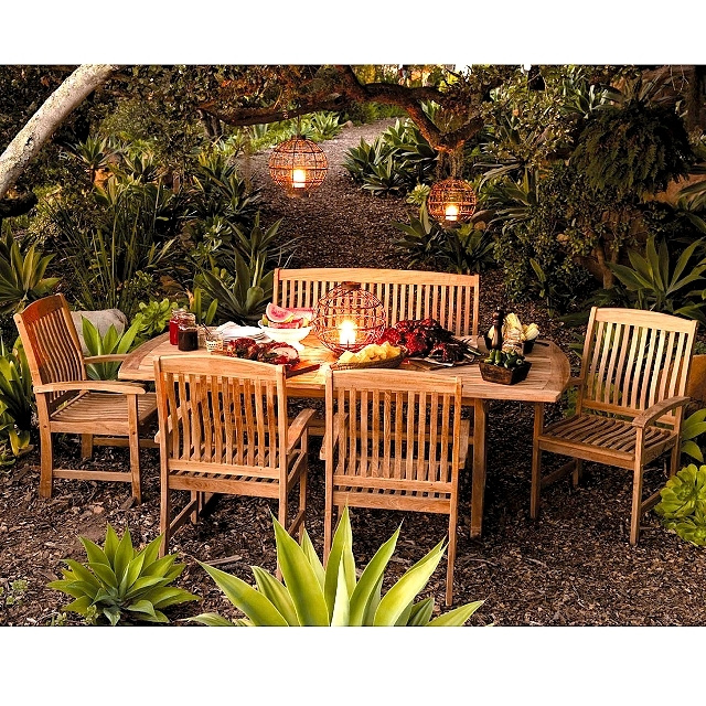 Bar Height Glass Table, Teak 6 Piece 60 To 84 Inch Expandable Outdoor Dining Set