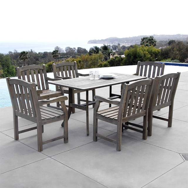 Acacia 7 Piece 59 Inch Aged Gray Slat Back Dining Set