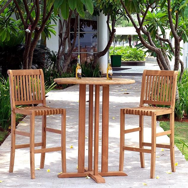 Awe Inspiring Teak 3Pc 36 Bar Height Deck Bistro Outdoor Set Uwap Interior Chair Design Uwaporg