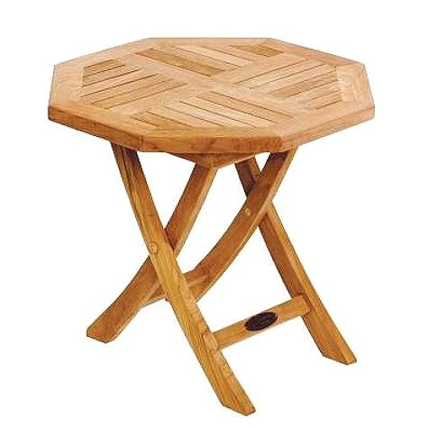 Folding Teak Side Table.Teak Deck Octagonal Folding Side Table