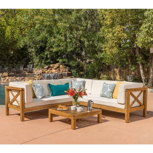 Admirable Teak Type Acacia 4 Piece Outdoor Sectional Sofa Set Download Free Architecture Designs Sospemadebymaigaardcom