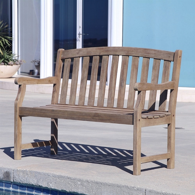 Acacia 4 Foot Aged Gray Outdoor Garden Bench
