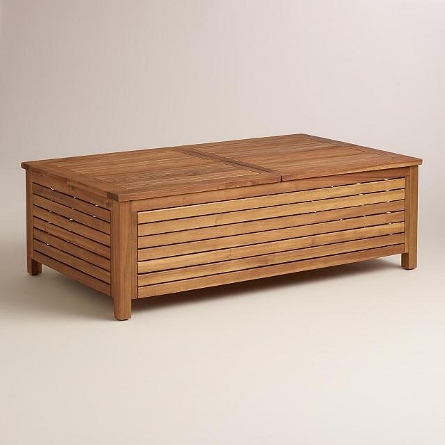 Acacia Contemporary Storage Outdoor Coffee Table