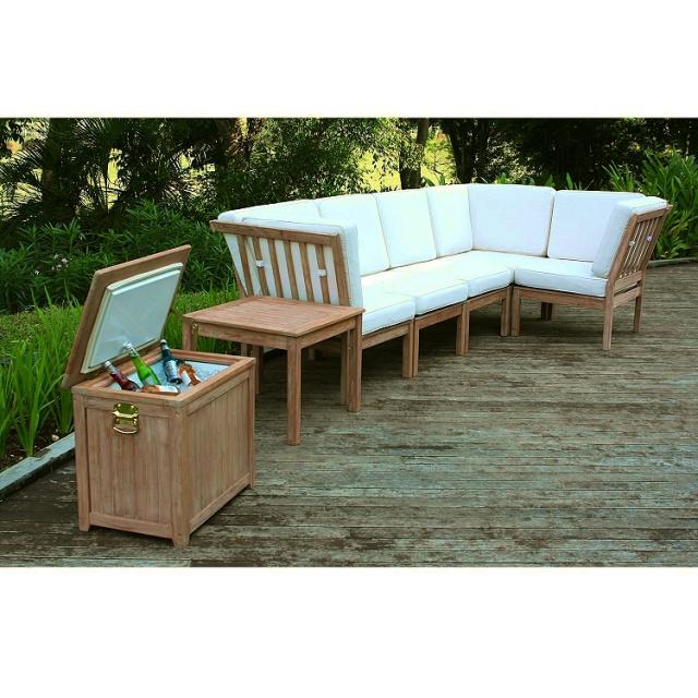 Weathered Teak Style Outdoor Patio Wood Cooler