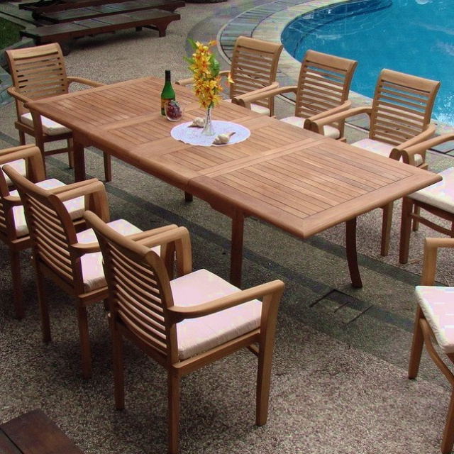 Teak 71 To 94 Inch Dual Butterfly Leaf Outdoor Dining Table